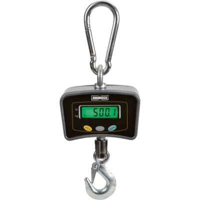 Balanza colgante digital metálica con adaptador cap. max. 500 Kgs