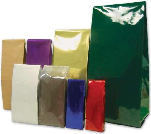 Bolsa para Café 3.35x2.5x9.5 metalizada color plateada 8 zs (1/2 libra) (1000) sin valvula