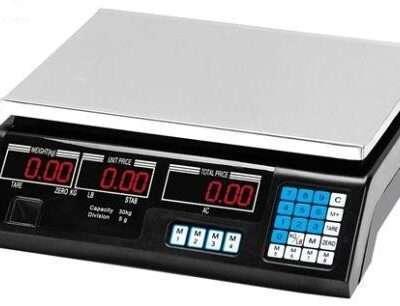 Balanza calculadora de precio ACS-C s/torre bateria recargable cap. Max. 30Kgs/66lbs