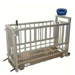 """Balanza PREMET de barra/porcina 23"""" con indicador T1, bat. recargable. kgs/ lbs. con jaula porcina"""